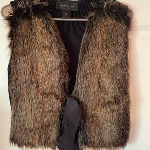 Brown & black fur vest